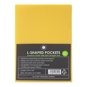 OSC L Shaped Pockets A4 Yellow Pack 12