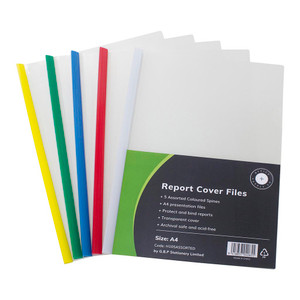 OSC Report Cover Clear A4 Assorted Spine Pack 5