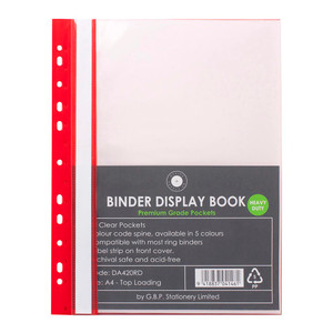 OSC Binder Display Book A4 20 Pocket Red