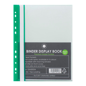 OSC Binder Display Book A4 20 Pocket Green