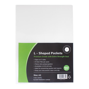 OSC L Shaped Pockets Heavy Duty A3 Clear, Pack of 6