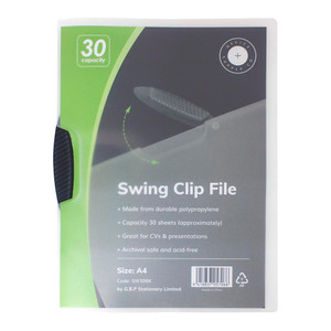 OSC Report Cover Swingclip A4 Black