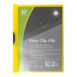 OSC Clip Easy File A4 Yellow 30 Sheet