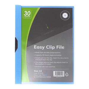OSC Clip Easy File A4 Light Blue 30 Sheet