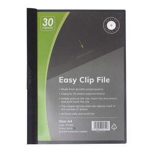 OSC Clip Easy File A4 Black 30 Sheet