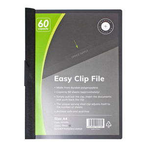 OSC Clip Easy File A4 Black 60 Sheet