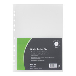 OSC Binder Letter File A4 Clear Pack 6