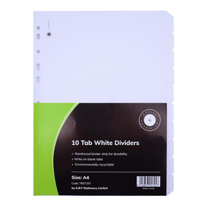 OSC Dividers Cardboard 10 Tab White