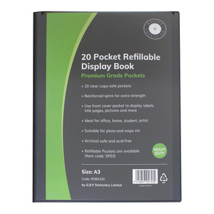 OSC Refillable Display Book A3 20 Pocket Black