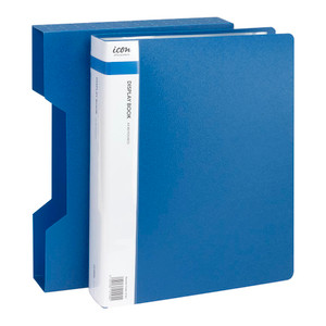Icon Display Book A4 with Insert Spine 80 Pocket with Case Blue