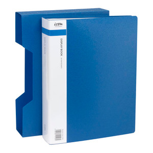Icon Display Book A4 with Insert Spine 100 Pocket with Case Blue
