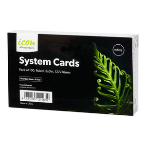 Icon System Cards Ruled 5x3 White, Pack of 100