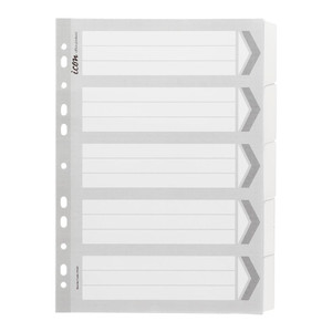 Icon Cardboard Dividers with Reinforced Tabs 5 Tab White
