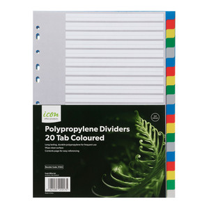 Icon PP Dividers 20 Tab Coloured