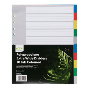 Icon PP Dividers Extra Wide 10 Tab Coloured