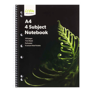 Icon Spiral 4 Subject Notebook A4 Soft Cover 320pg