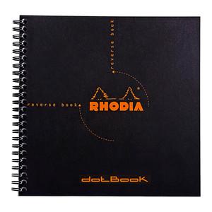 Rhodia Reverse Book Spiral 210x210mm Dotted Black