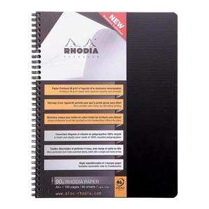 Rhodiactive Notebook Spiral A4+ Lined Black
