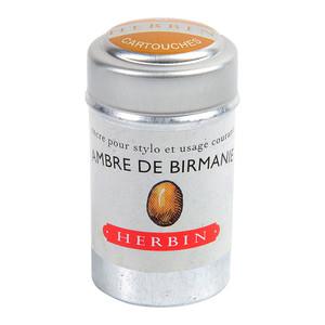 Herbin Writing Ink Cartridge Ambre de Birmanie Pack of 6