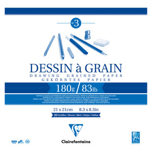 Clairefontaine Drawing Pad Grain 21x21cm 180g 30sh