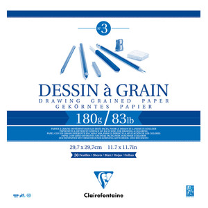 Clairefontaine Drawing Pad Grain 28x28cm 180g 30sh