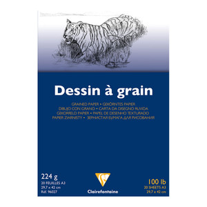 Clairefontaine Drawing Pad Grain A3 224g 20sh