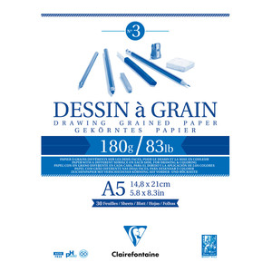 Clairefontaine Drawing Pad Grain A5 180g 30sh