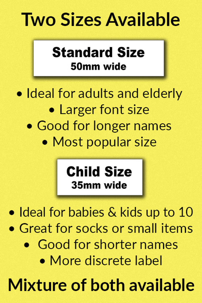 School Uniform Combination Pack 50 Iron-on name labels and 25 Shoe labels