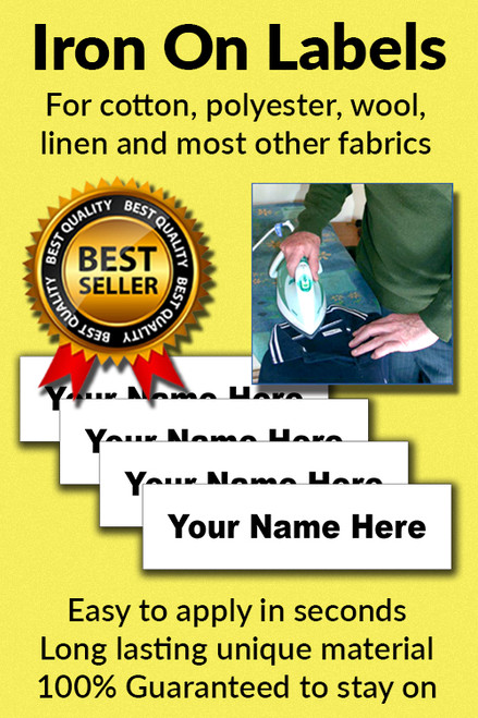 Brand New Sewing box 50 Iron-on Nametags with ink pen For Garments and Cloths