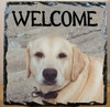 Custom Photo Slate Sign - Yellow Lab Welcome
