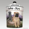 Hand Painted Custom Treat Jar by Zeppa Studios, Two Sharpei