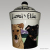 Hand Painted Custom Ceramic Treat Jar by Zeppa Studios, Two Dogs