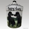 Custom Hand Painted Personalized Treat Jar by Zeppa Studios, Two Poodles
