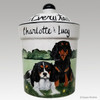 Hand Painted Custom Treat Jar by Zeppa Studios, Two Cavaliers