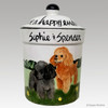 Hand Painted Custom Treat Jar by Zeppa Studios, Two Toy Poodles