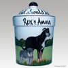 Hand Painted Custom Treat Jar by Zeppa Studios, Rex & Anna