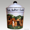 Hand Painted Ceramic Canister with three dogs.