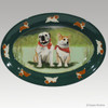 Original Style Hand Painted Platter, Bulldog and Corgi