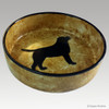 Hand Painted Ceramic Dog Bowl - Black Lab on Rustic Red