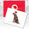 Chocolate Labrador Sitting Sideways Christmas Cards
