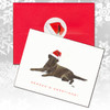 Chocolate Labrador Lying Christmas Cards