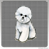 Bichon Facing Front Houndstooth Coasters