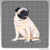 Sitting Pug Houndzstooth Coasters