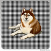 Brown & White Siberian Husky Houndzstooth Coasters