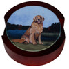 Set of 4 Bisque Coasters with a Golden Retriever at the Lake