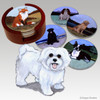 Puppy Clipped Maltese Bisque Coaster Set