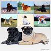 Pair of Pugs Scenic Mouse Pads