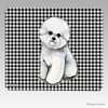 Bichon Sitting Houndstooth Mouse Pad