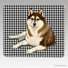 Brown N White Siberian Husky Houndstooth Mouse Pad