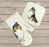 Tri Collie Oven Mitt and Pot Holder